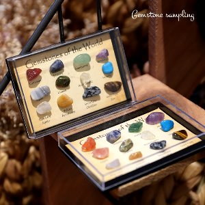 천연 젬스톤 샘플링 [Polished Natural Crystal Gemstones Of The World Gift Set  원석 미니어쳐 액자]