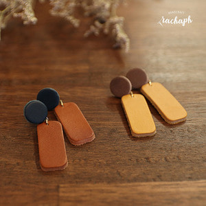 ★SALE★ 라하프 쉐입 오브 가죽 귀걸이 [rachaph Italy vegetable leather shape earring]
